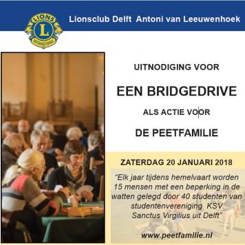Uitnodiging voor een Bridgedrive als actie voor de Peetfamilie